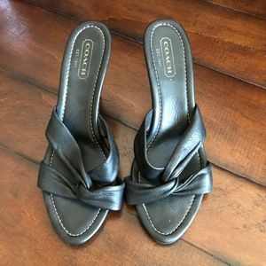 Coach black heeled sandals Size 9.5